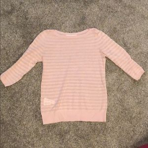 Loft pink striped knit long sleeved top